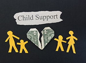 Concept of child support with a dollar shaped like a broken heart in between two pairs of adults and children