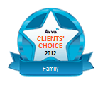 Blue badge representing AVVO Clients' Choice winner for family law in 2012, Tim Hambidge