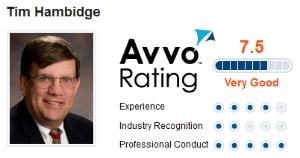 An Avvo rating badge for attorney Tim Hambidge. The badge indicates he is rated a 7.5 on the legal website Avvo.