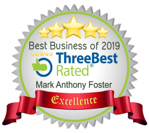 Badge indicating Mark Foster is rated one of the Best Businesses of 2019 by Three Best Rated